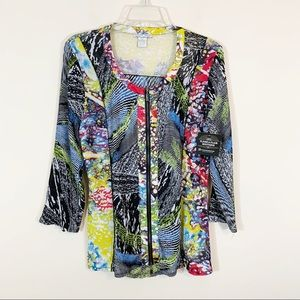 Alberto Makali • Colorful Full Zip Top Size XL